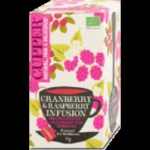 Cupper Bio tőzegáfonya-málna tea filteres 20db