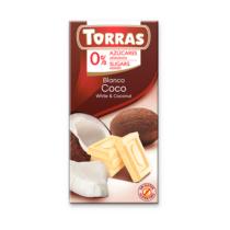 Torras Glutén-és cukormentes fehércsokoládé kókusz 75 g