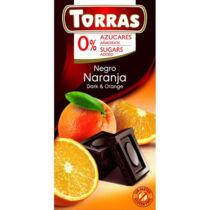 Torras Gluténmentes étcsokoládé narancs cukor nélkül 75 g