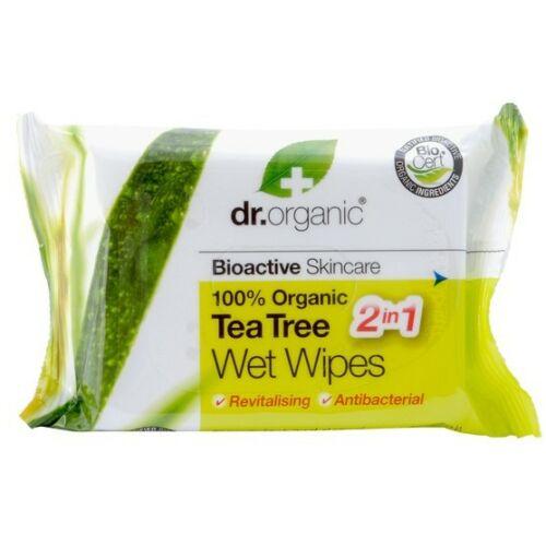 Dr. Organic Bio teafa nedves törlőkendő 20 db